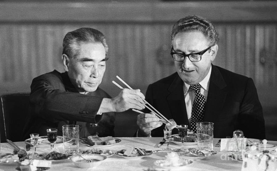 Kissinger Eating With Zhou Enlai Photograph by Bettmann
