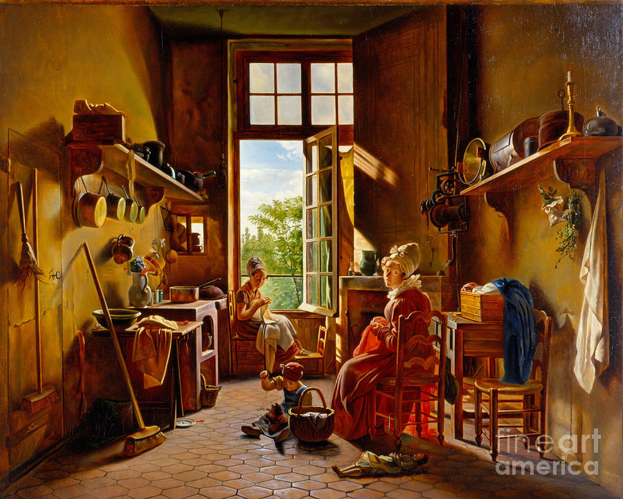 Kitchen Interior. Artist Drolling Drawing by Heritage Images