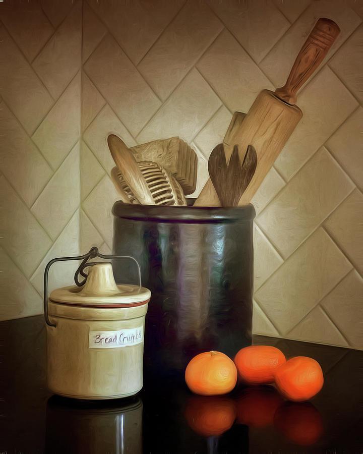 Tools Photograph - Kitchen Utensils - Bread Crumbs - Mandarin Oranges by Nikolyn McDonald