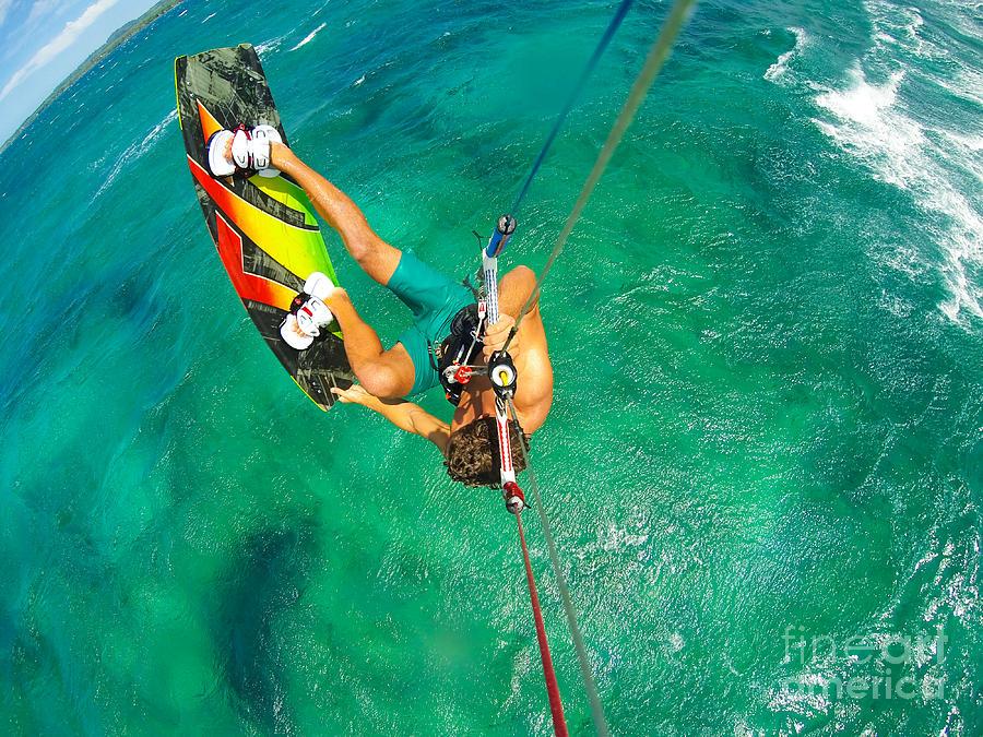 Freestyle Photograph - Kite Boarding. Fun In The Ocean by Epicstockmedia