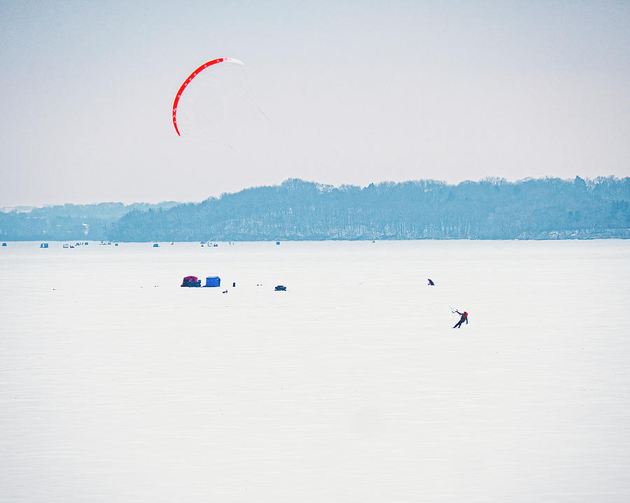 Kite Skiing - Madison - Wisconsin by Steven Ralser