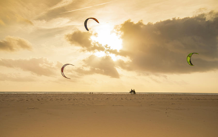 Image Digital Art - Kite Surfers by Andrew Lever