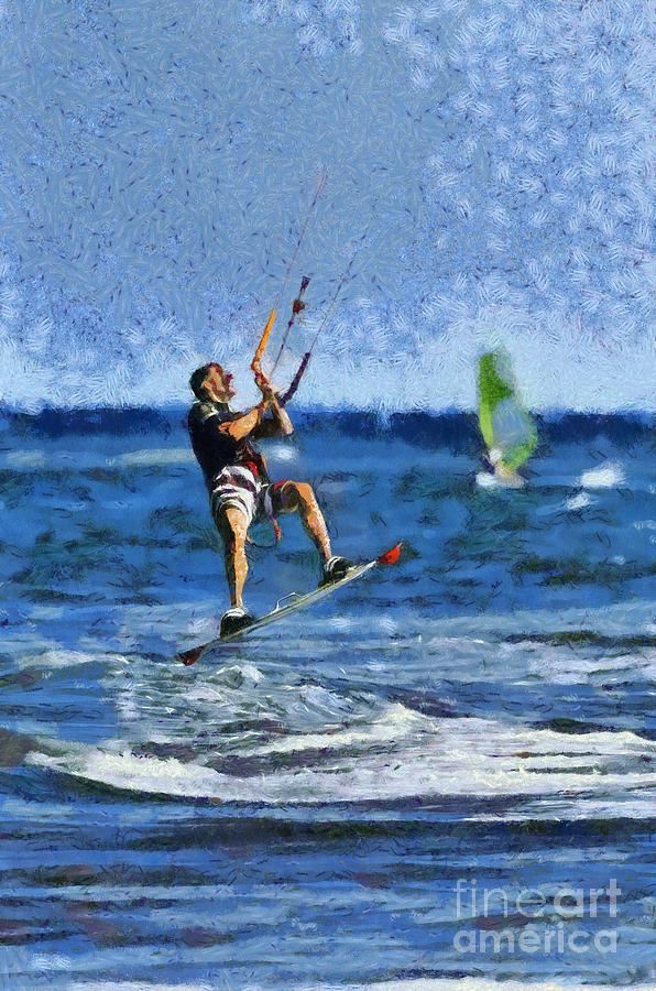 Paints Painting - Kite Surfing On A Windy Day Vi by George Atsametakis