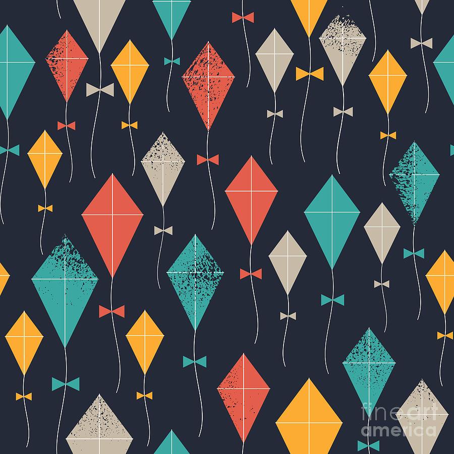 Play Digital Art - Kites Seamless Pattern. Flying Kites by Adehoidar