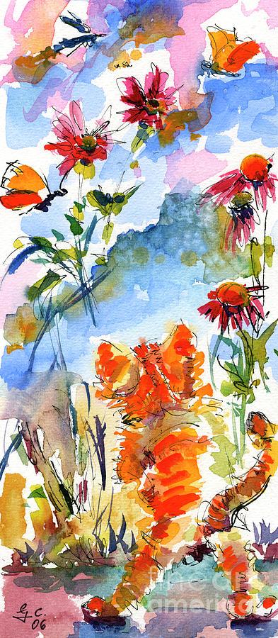Kitten Chasing Butterflies Watercolor by Ginette Callaway