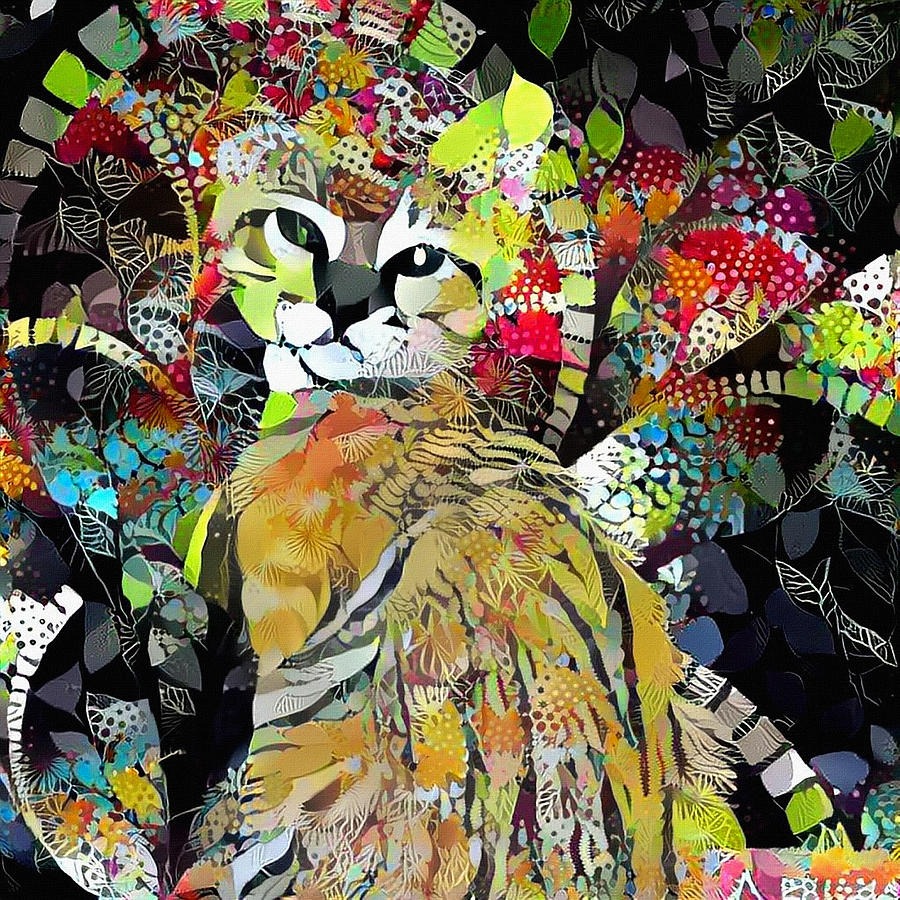 Abstract Digital Art - Kitten In Colorful Leaves by Bruce Rolff