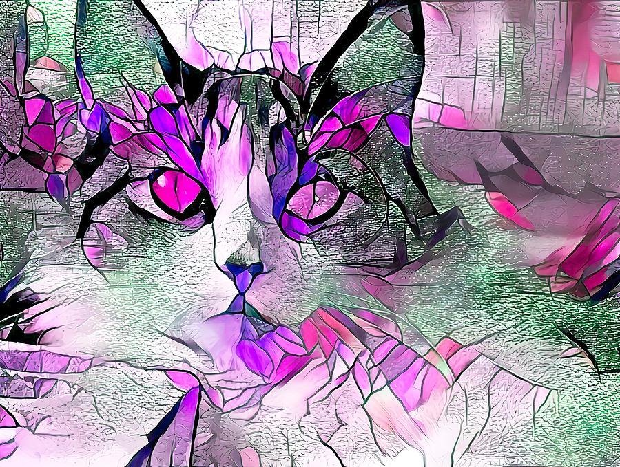 Kitten On Stained Glass Purple Digital Art