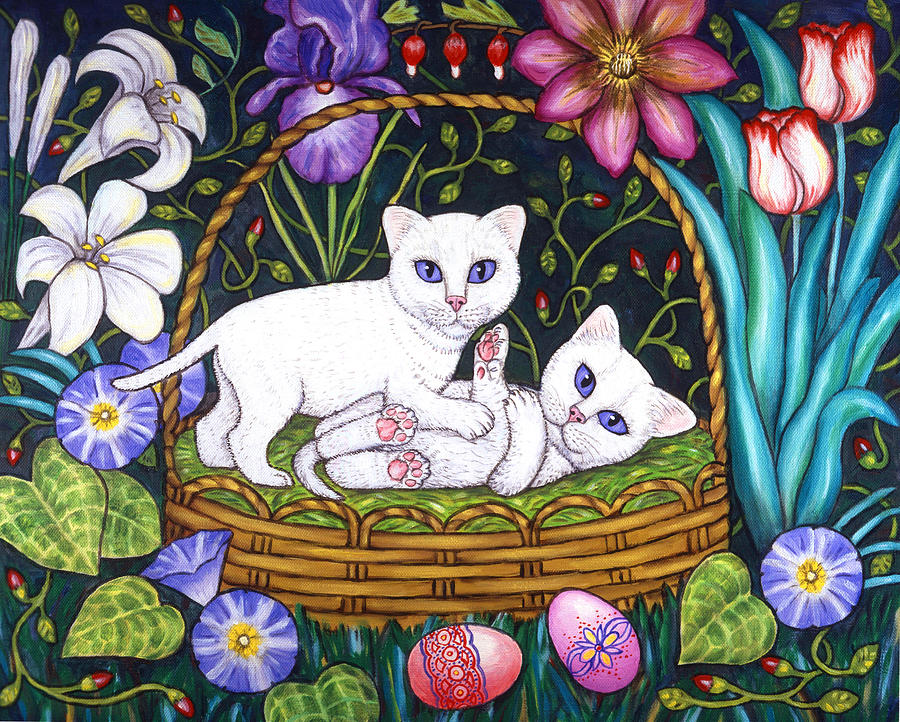 Kittens Painting - Kittens in a Basket by Linda Mears