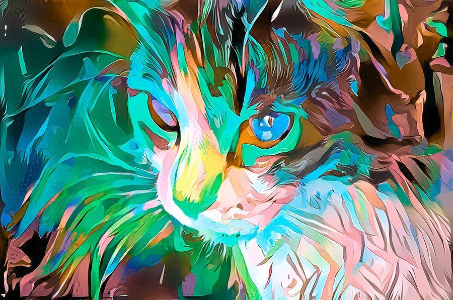Kitty Abstract Flowing Paint Blue Green Digital Art