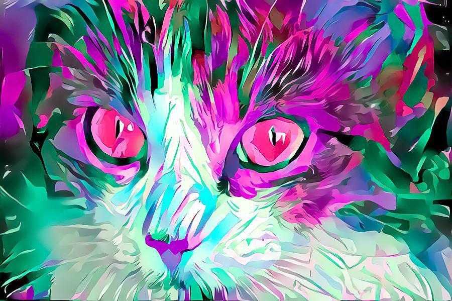 Kitty Love Pink Eyes Digital Art