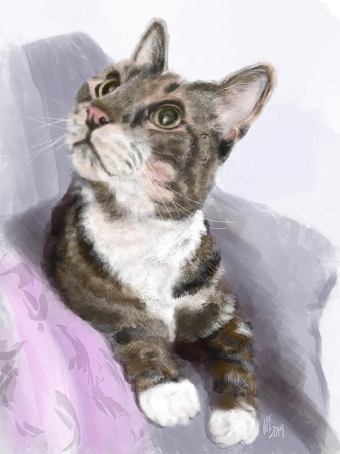 Cat Digital Art - Kitty Sitting Pretty by Lois Ivancin Tavaf