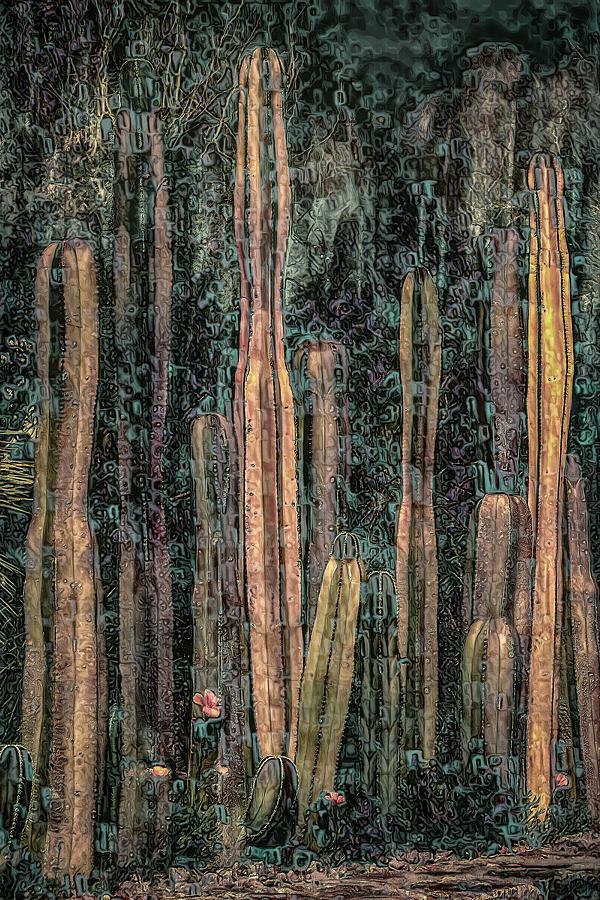 Klimt Cacti Trio B by Sandra Nesbit