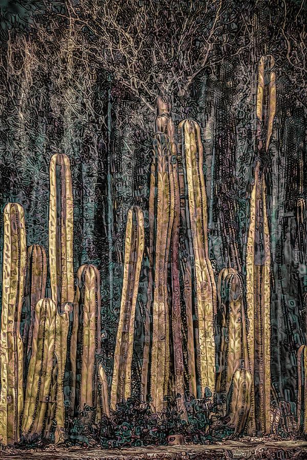 Klimt Cacti Trio C by Sandra Nesbit