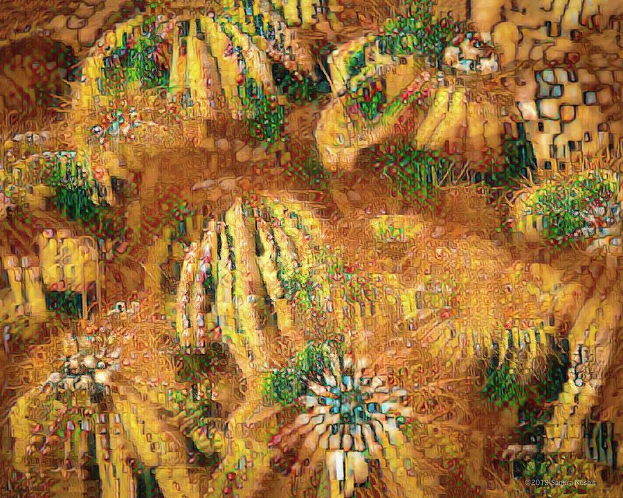 Klimt Golden Cacti by Sandra Nesbit