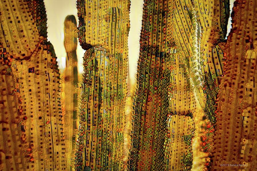 Klimt Golden Saguaro Cacti Grove by Sandra Nesbit