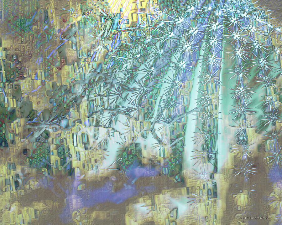 Klimt Turquoise Cactus by Sandra Nesbit