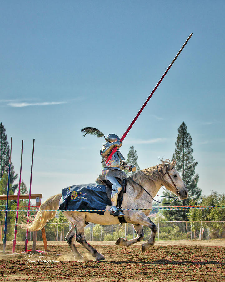Equine Photograph - Knight Charging 01 by Jim Thompson