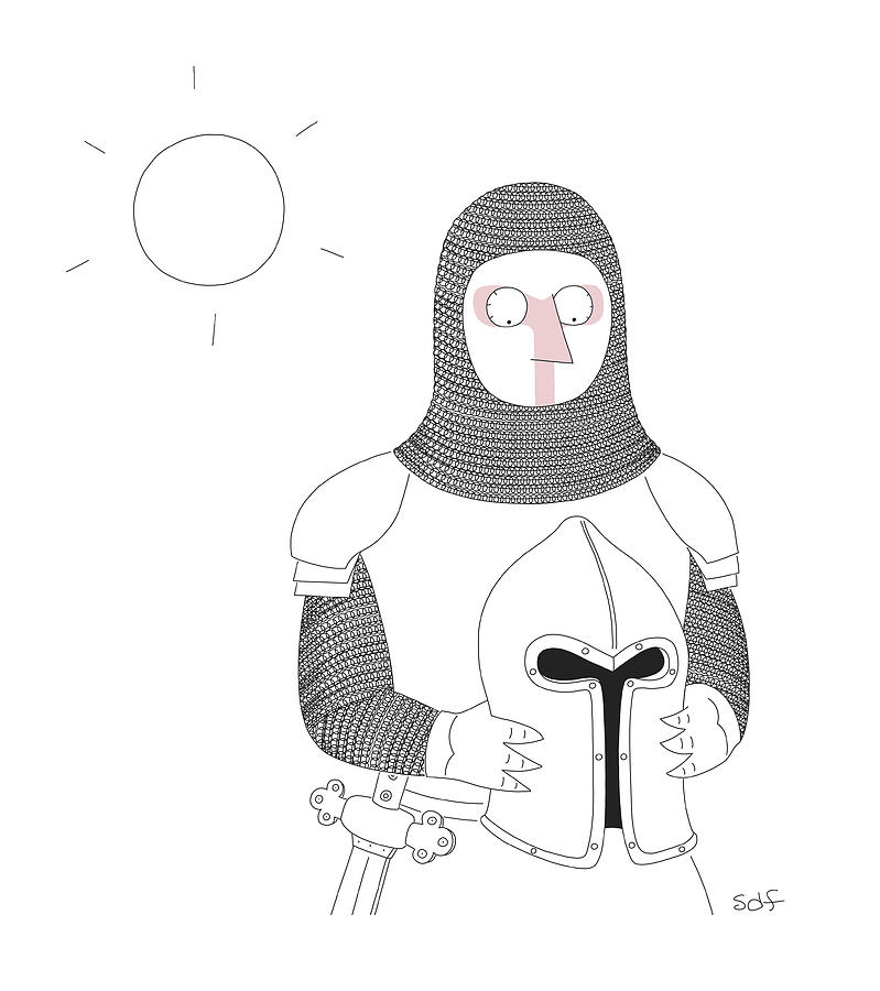 Knight In The Sun Drawing by Seth Fleishman