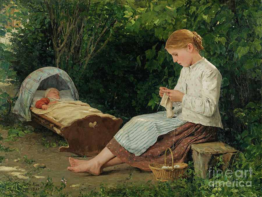 Knitting Girl Watching The Toddler Drawing by Heritage Images