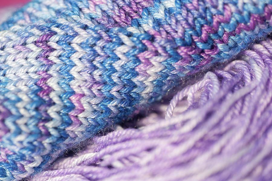 Knitting Hobbies Series. Purple Pastel Yarn And Knit 1 Photograph