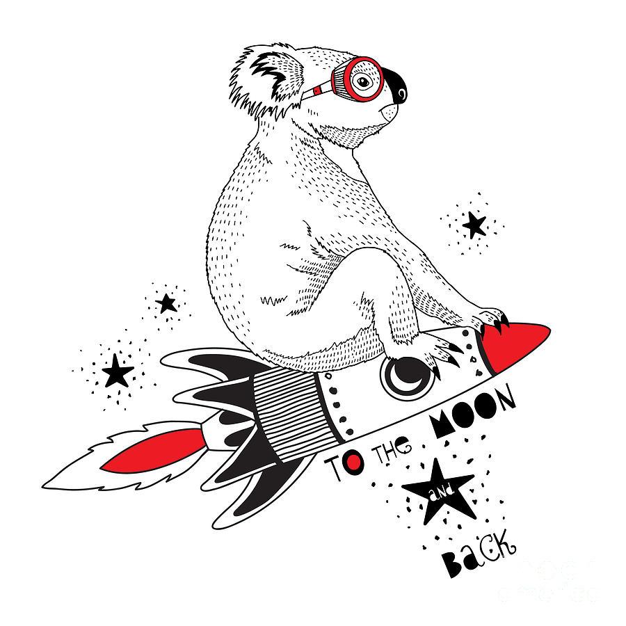 Fancy Digital Art - Koala Flying On The Rocket To The Moon by Olga angelloz
