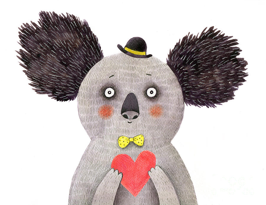 Love Digital Art - Koala With Heart. Watercolor And Pencil by Lenaer