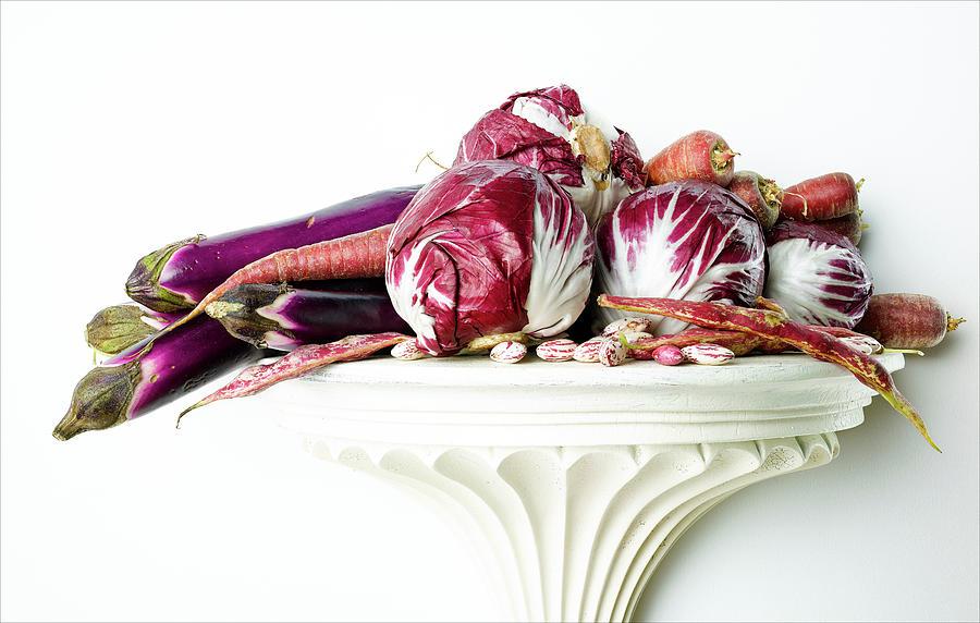 Kohlrabi, Eggplant And Carrots Photograph by Chris Stein
