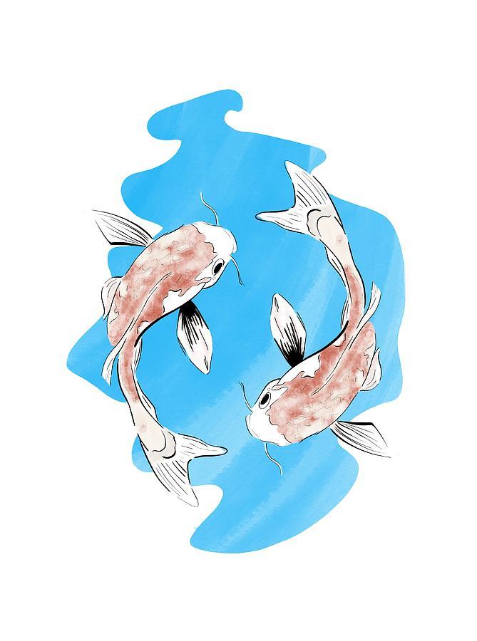 Koi Carp Fish Zen by Uwaki Art