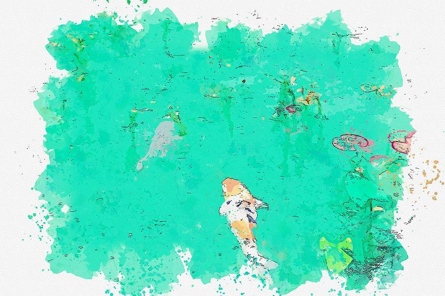 Koi Fish, Nemichi Jinja, Seki, Japan    Watercolor By Ahmet Asar Painting