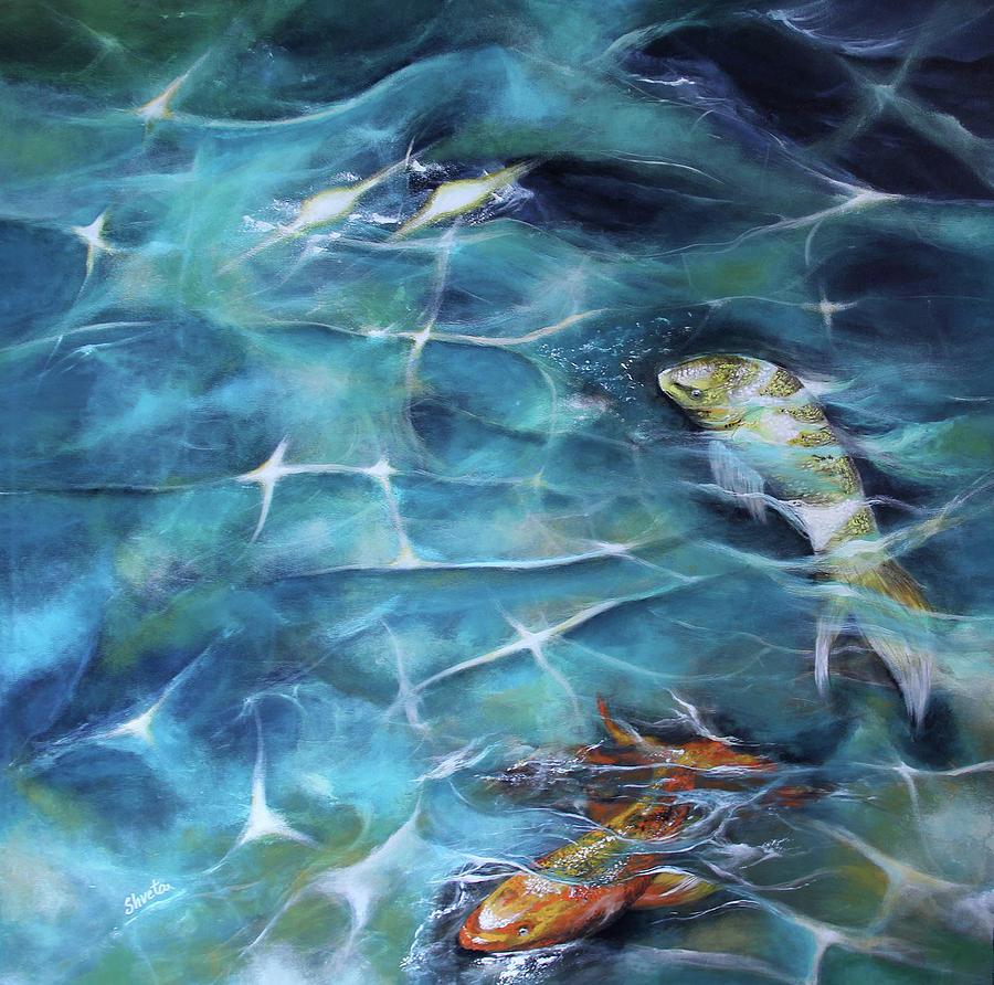 Koi Fish Painting - Koi Fish3 by Shveta Saxena