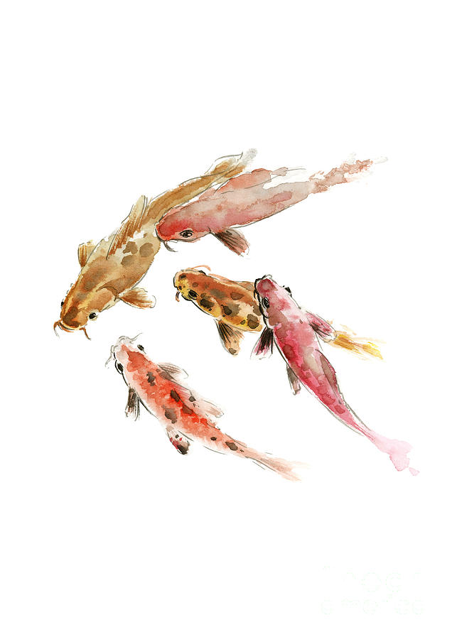 Koi Fishes Watercolor Painting Japanese Motive Modern Poster Painting By Joanna Szmerdt