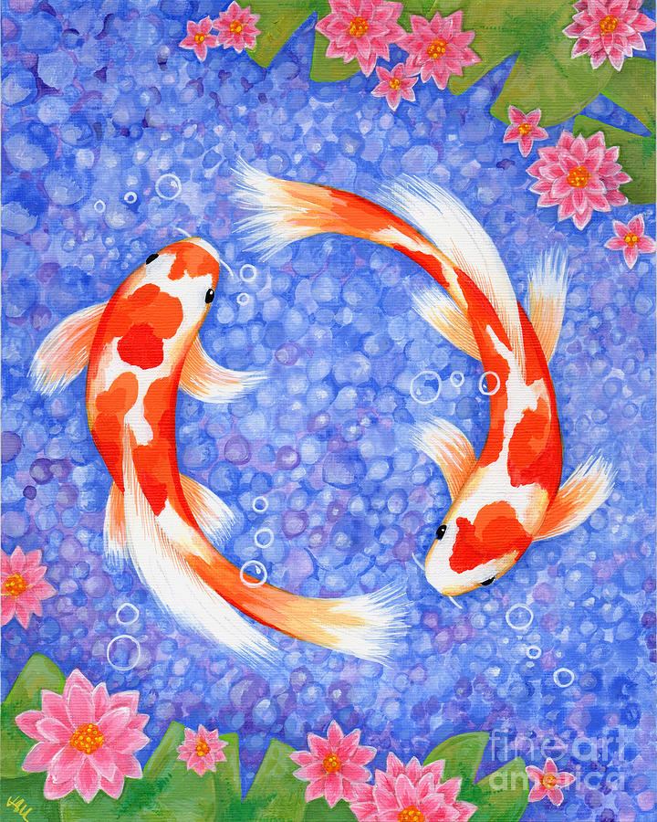 Koi Painting - Koi For Love by Julia Underwood
