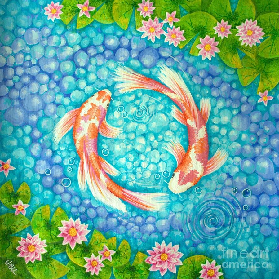 Koi Painting - Koi For Love No.2 by Julia Underwood