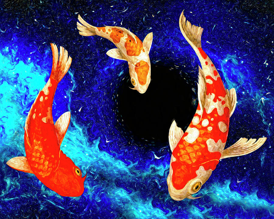 Koi in Space Primary colors by Sandra Selle Rodriguez