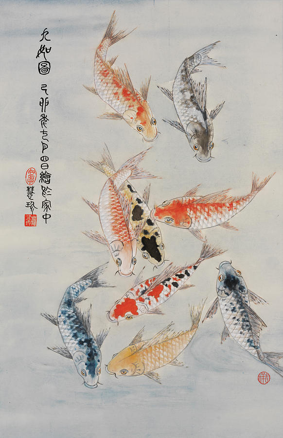 Study In Koi Painting By Jenny Sanders