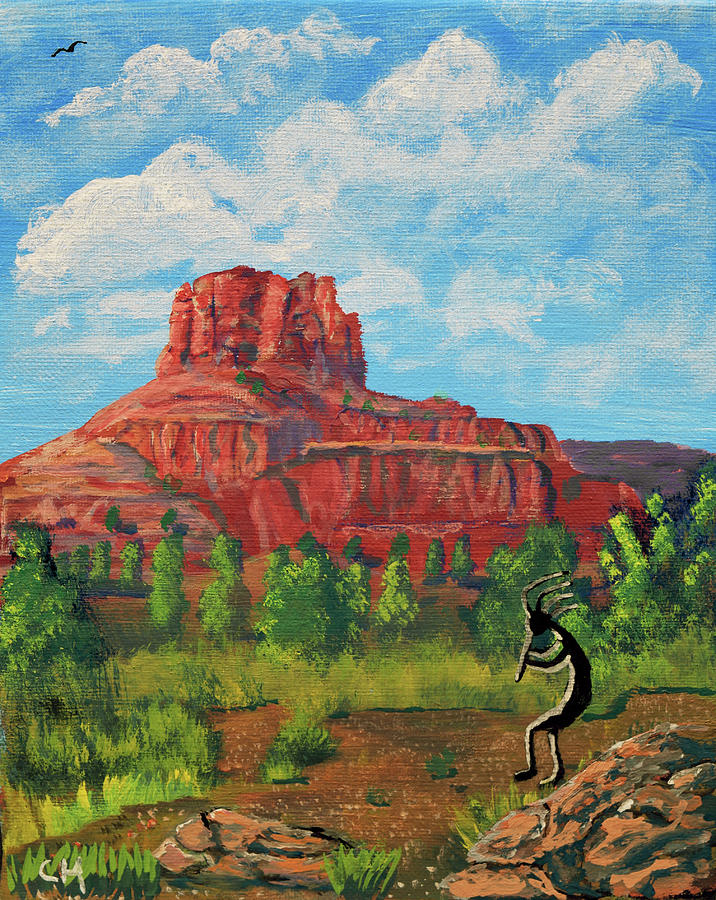 Kokopelli and Bell Rock, Sedona, Arizona  by Chance Kafka
