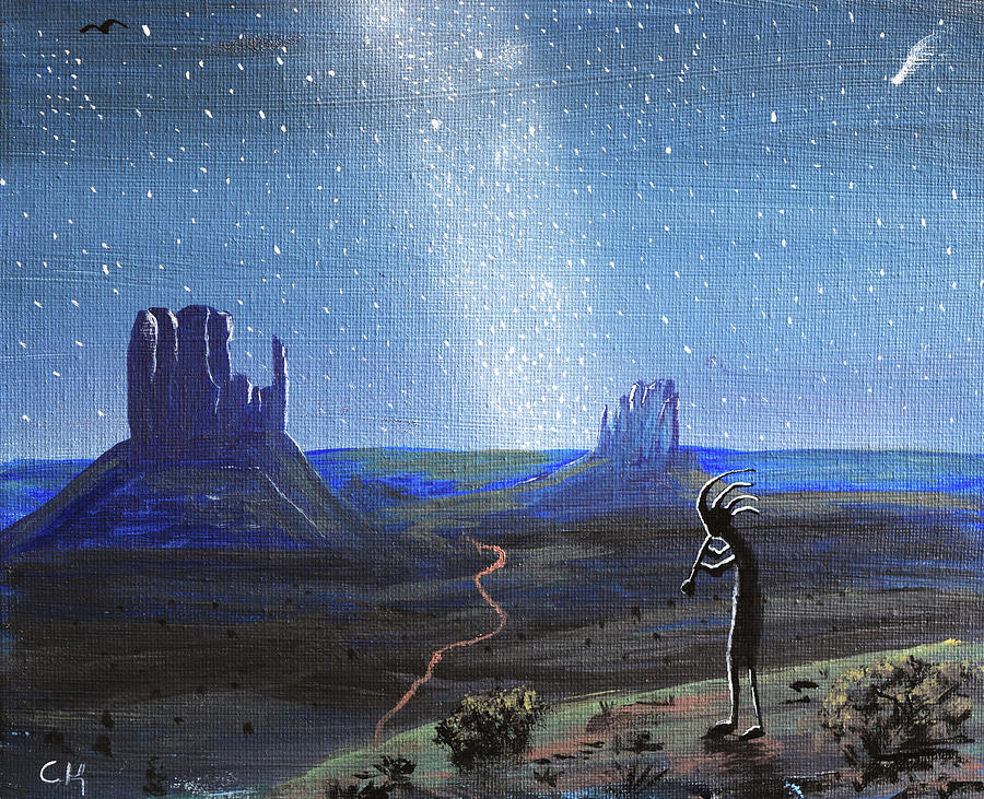 Kokopelli and Milky Way Stars at Monument Valley by Chance Kafka