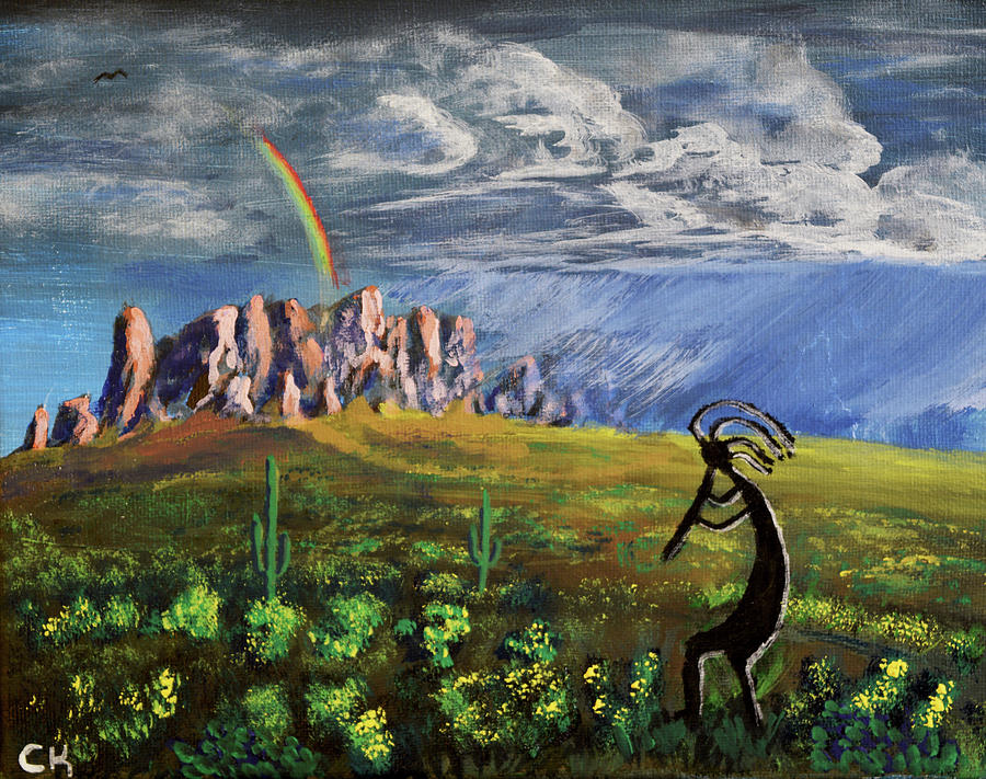Kokopelli and the Superstition Mountains by Chance Kafka
