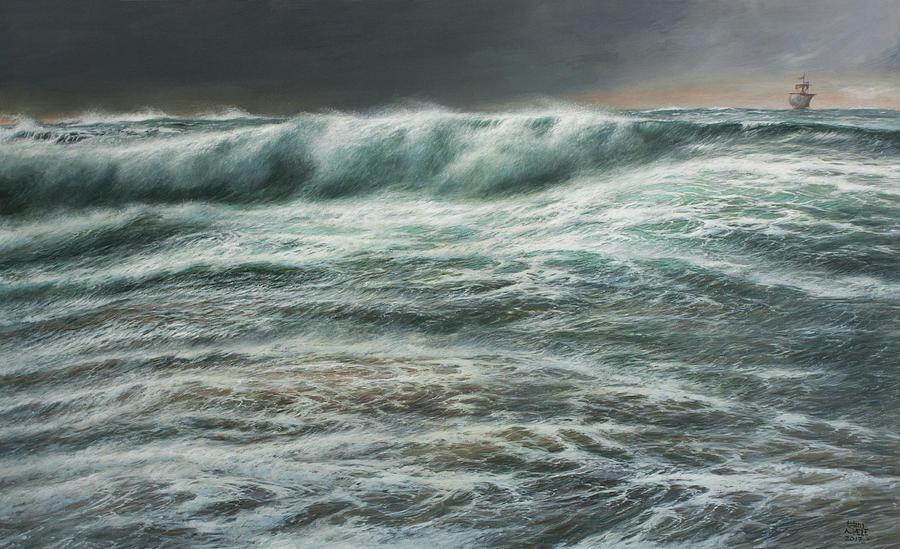 Kon Tiki approaching Raroia by Hans Egil Saele