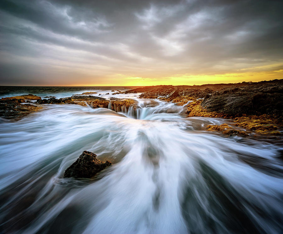 Kona Blowhole at Sunset by Christopher Johnson