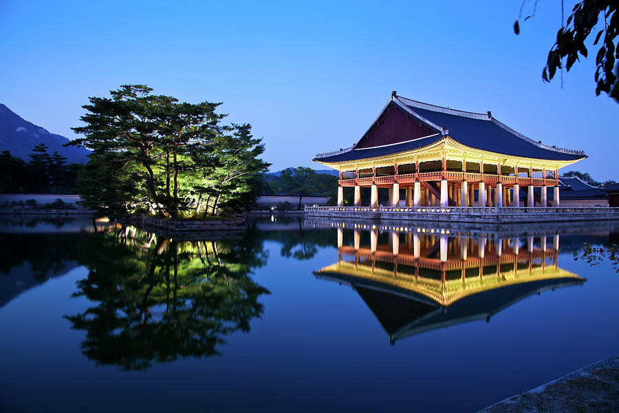 Korean Royal Palace In Night Photograph by Light Of Peace