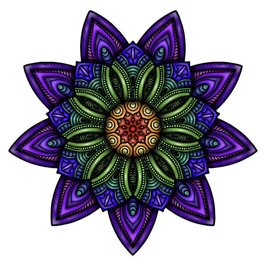 Mandala Mixed Media - Krita Mandala 67 Coloured A by Delyth Angharad