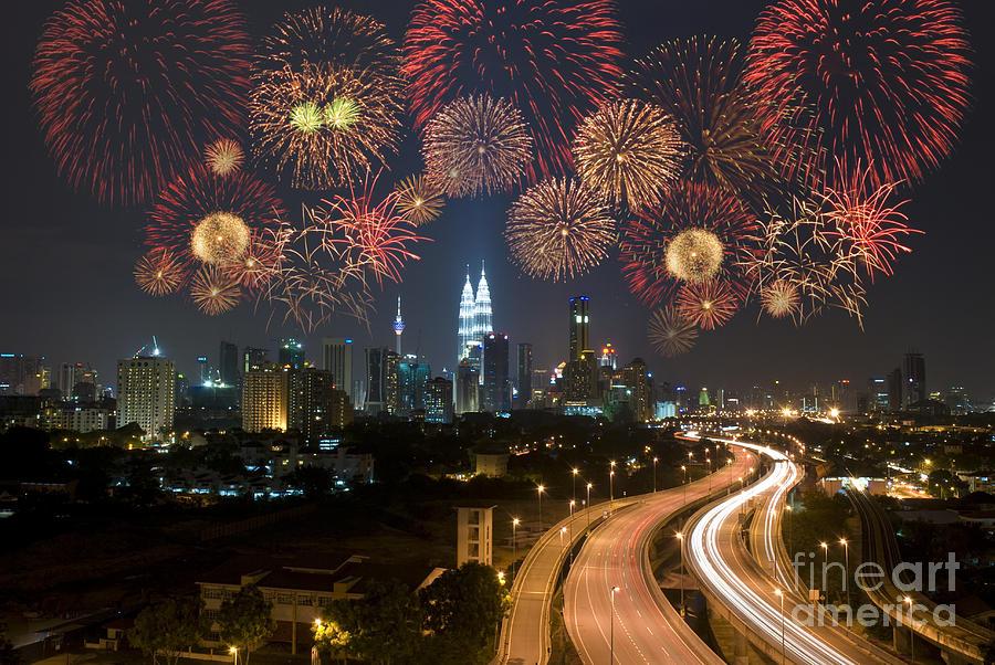 Color Photograph - Kuala Lumpur Night View During by Wong Yu Liang