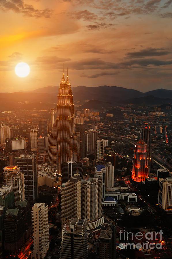 Capital Photograph - Kuala Lumpur Sunset Scene With Petronas by Vitaly Titov