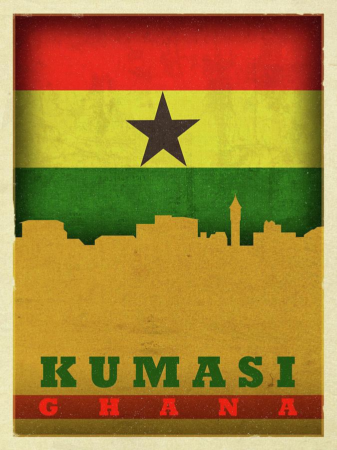 Kumasi Mixed Media - Kumasi Ghana World City Flag Skyline by Design Turnpike