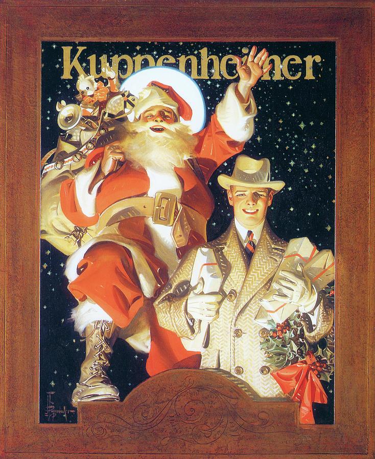 Joseph Christian Leyendecker Painting - Kuppenheimer Merry Christmas -  by Joseph Christian Leyendecker