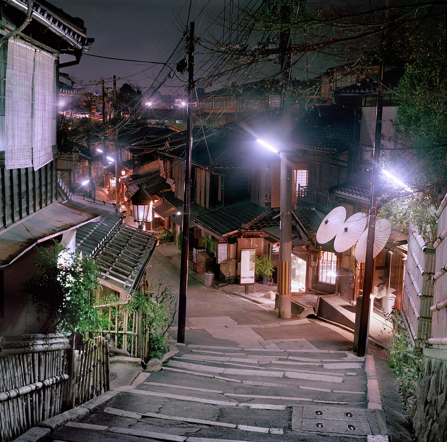 Kyoto Street At Night Photograph by Peter Kindersley
