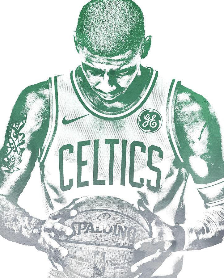 Kyrie Irving Mixed Media - Kyrie Irving Boston Celtics Water Color Pixel Art 30 by Joe Hamilton