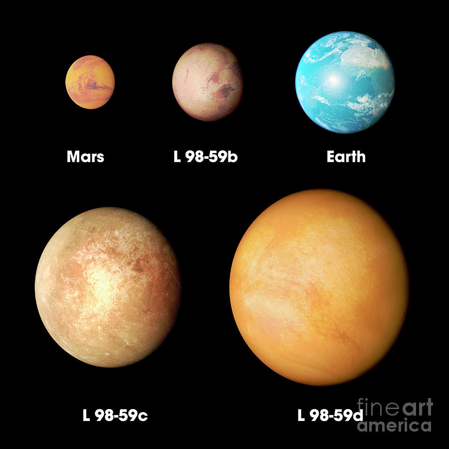 Exoplanets Photograph - L 98-59 Exoplanets Size Comparison by Nasas Goddard Space Flight Center/science Photo Library