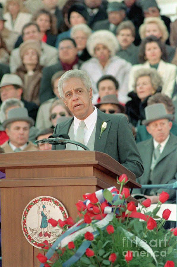 L. Douglas Wilder Delivering Inaugural Photograph by Bettmann